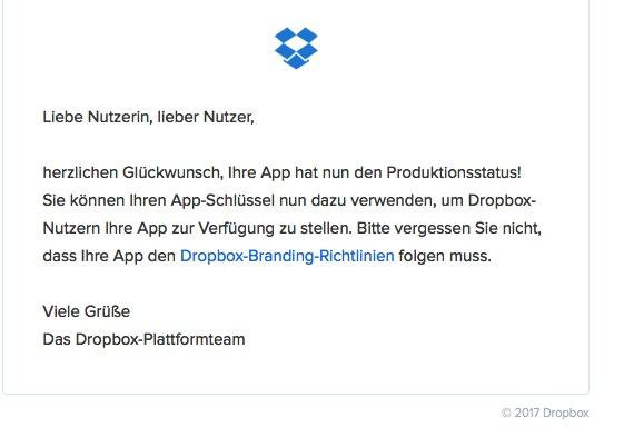 Production - Bestätigung von Dropbox
